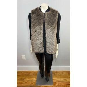 H&M Brown Faux Fur Vest with Pockets